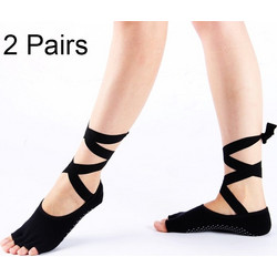 f66800dfbd6 2 Pairs Ladies Lace-up Ballet Dancing and Yoga Anti-slip Toe Socks(