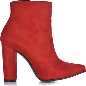b1a7325742 Μποτάκια κόκκινα σουέτ μυτερά με χοντρό τακούνι 3816176red. Tsoukalas Shoes