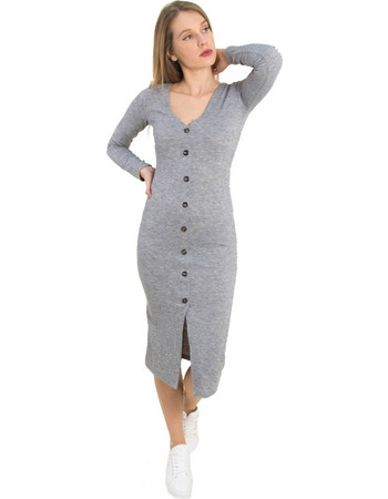 2660fe924f6b Γυναικείο γκρι μάλλινο maxi φόρεμα κουμπιά Cocktail 014100059