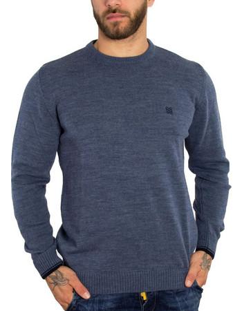 Ανδρικό γαλάζιο πλεκτό πουλόβερ με διχρωμία Darious 18555F 5b7df999fed