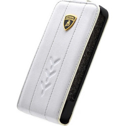 Apple iPhone 4/4S - Θήκη Flip Δέρμα Lamborghini Performante-D1 Λευκή (Lamborghini)