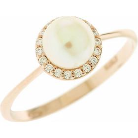 Δαχτυλίδι ροζ χρυσό 14 καράτια με ζιργκόν και μαργαριτάρι 7 χιλιοστά dc9a5e1bbb7