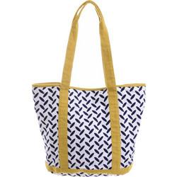 2141dbb009 Τσάντα Υφασμάτινη Λευκή Με Μπλε Σχέδια Και Κίτρινη Λεπτομέρεια (100% Cotton)