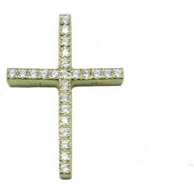 Σταυρός χρυσός Κ14 με λευκά ζιργκόν 37541 34089c0dac3