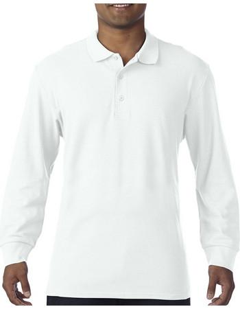 425e57584140 Ανδρική Μακρυμάνικη Double Pique Μπλούζα Polo Premium Gildan 85900 - White