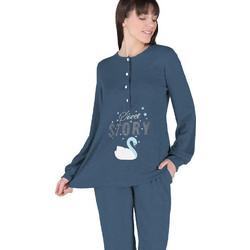 Rachel μπλε-jeans γυναικεία χειμωνιάτικη πυτζάμα με κύκνο 11969 c3715e568f3
