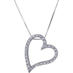 Λευκόχρυση καρδιά κολιέ 017365 Χρυσός 14 Καράτια beac9cff301
