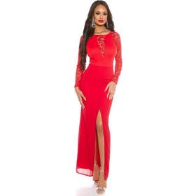 70d2086ae37f 41796 FS Μάξι φόρεμα με δαντέλα και σκίσιμο - κόκκινο