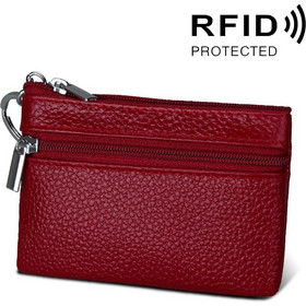 ef5088fd8f Cowhide Leather Zipper Solid Color Horizontal Card Holder Wallet RFID  Blocking Coin Purse Card Bag Protect