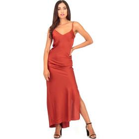 14aba56f381a Μπορντό Σατέν Maxi Φόρεμα Μπορντό Silia D
