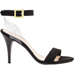 756be3b305 Πέδιλα μαύρα σουέτ με μπαρέτα και διαφάνεια 3021113bl. Tsoukalas Shoes