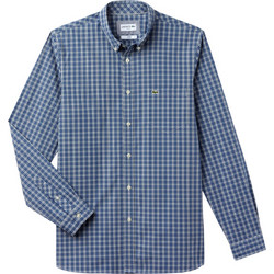 8a0a7b1ae406 Lacoste ανδρικό πουκάμισο καρό με τσεπάκι στο στήθος - CH0489 - Μπλε