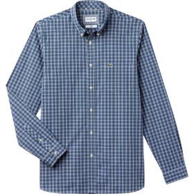 c09b21376c38 Lacoste ανδρικό πουκάμισο καρό με τσεπάκι στο στήθος - CH0489 - Μπλε