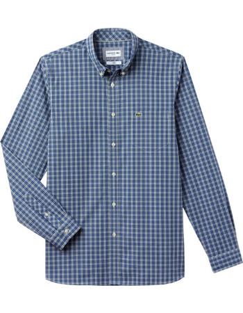 Lacoste ανδρικό πουκάμισο καρό με τσεπάκι στο στήθος - CH0489 - Μπλε aaf35986fbc